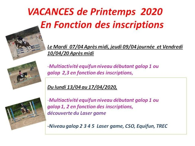 07 - 04 - 2020 stage vacances de printemps