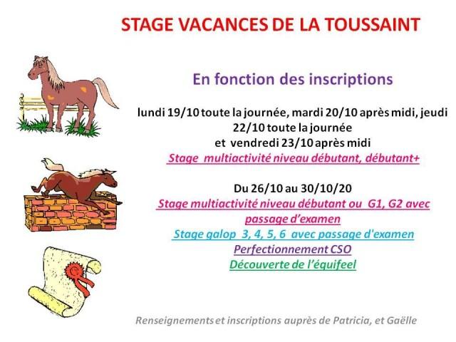 19 - 10 - 2020 stage vacances de la Toussaint